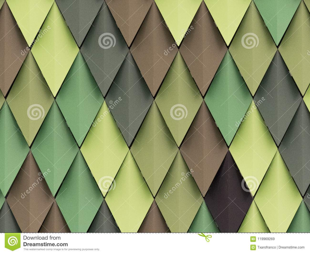 Rhombus in different shades of green and brown in the facade