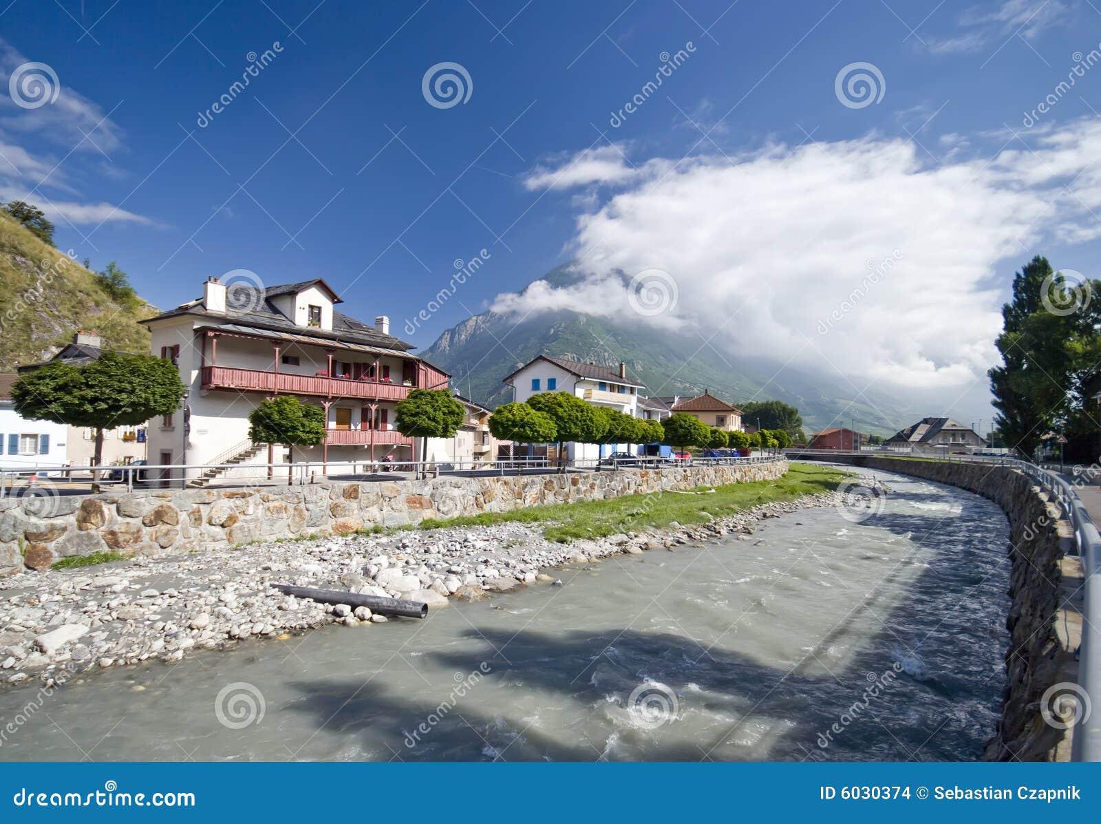 The Rhone river in Martigny