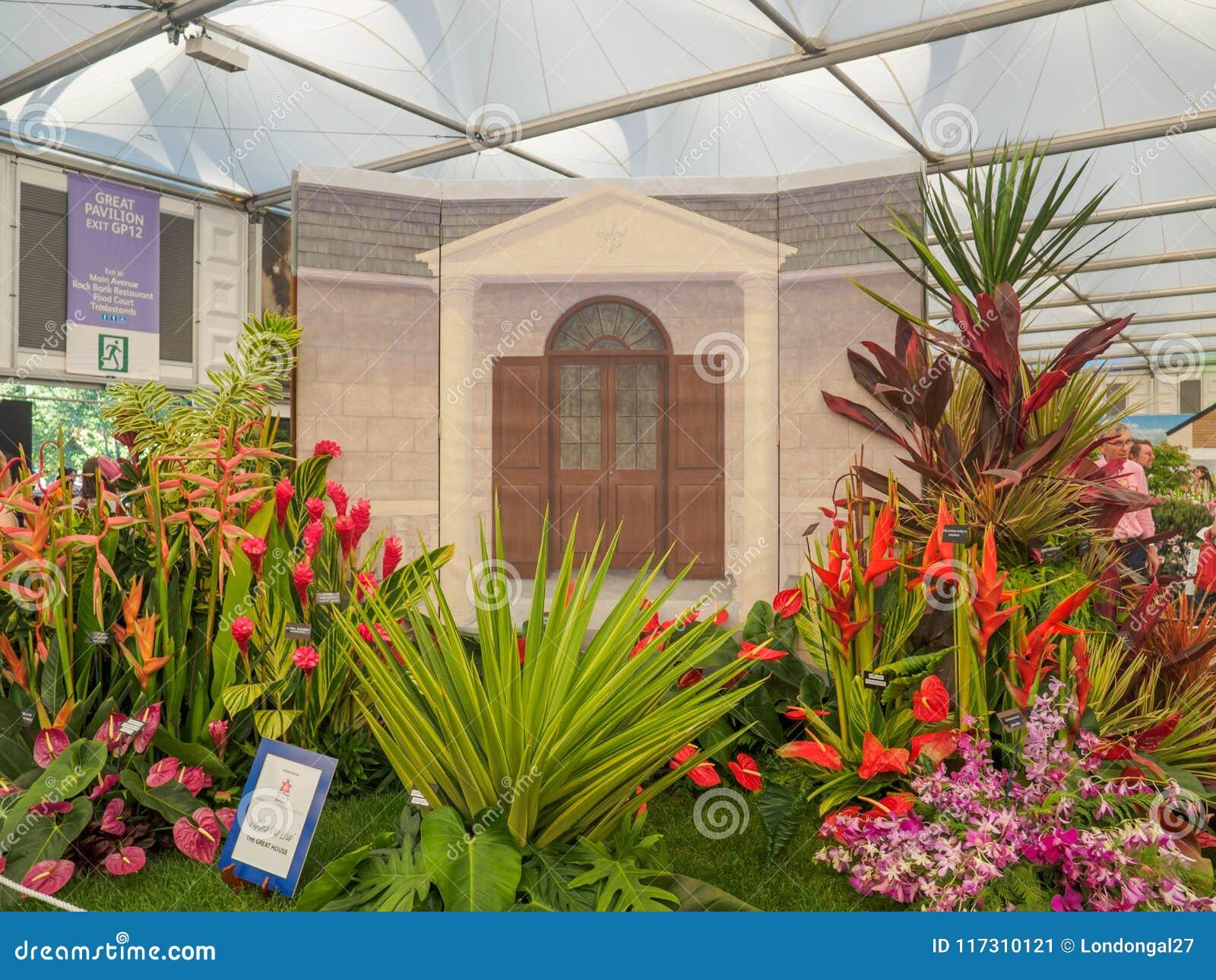 RHS Chelsea kwiatu przedstawienie 2017 Barbados społeczeństwa Ogrodniczy pokaz przy Wielkim pawilonem