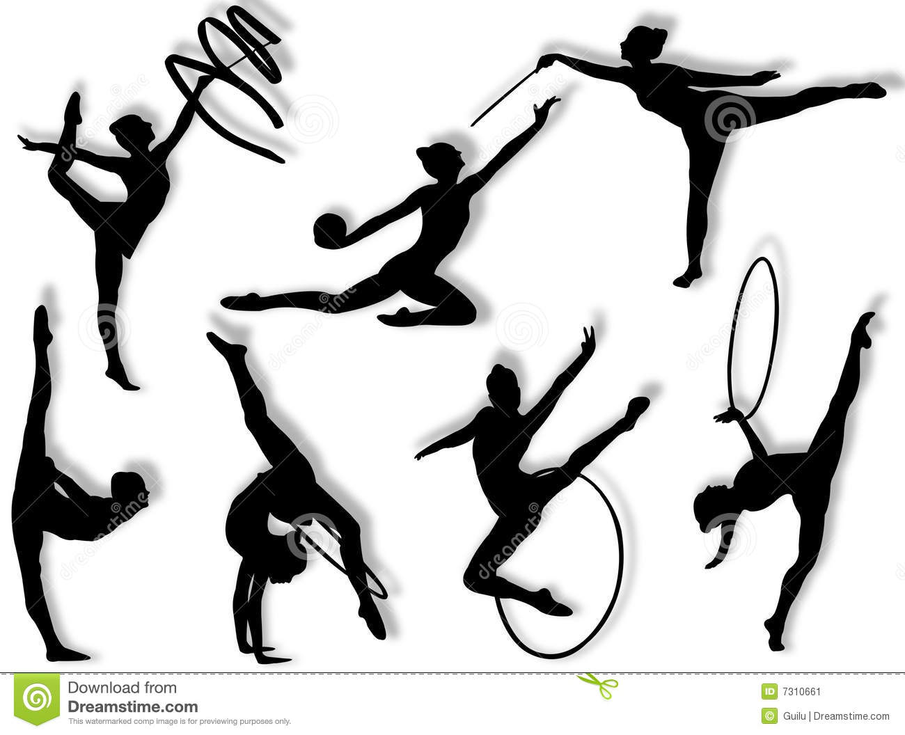 Young women in rhythmic gymnastics silhouette and exercises.