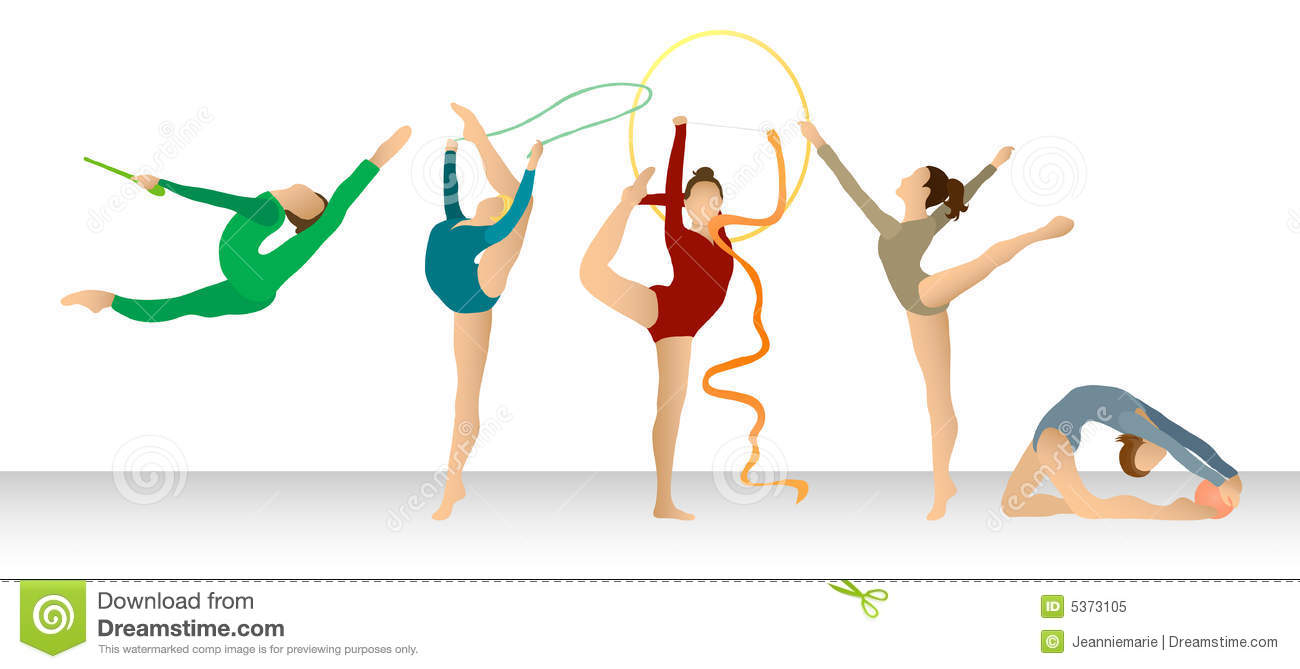 Rhythmic Gymnastics: Group In Color Stock Illustration ...