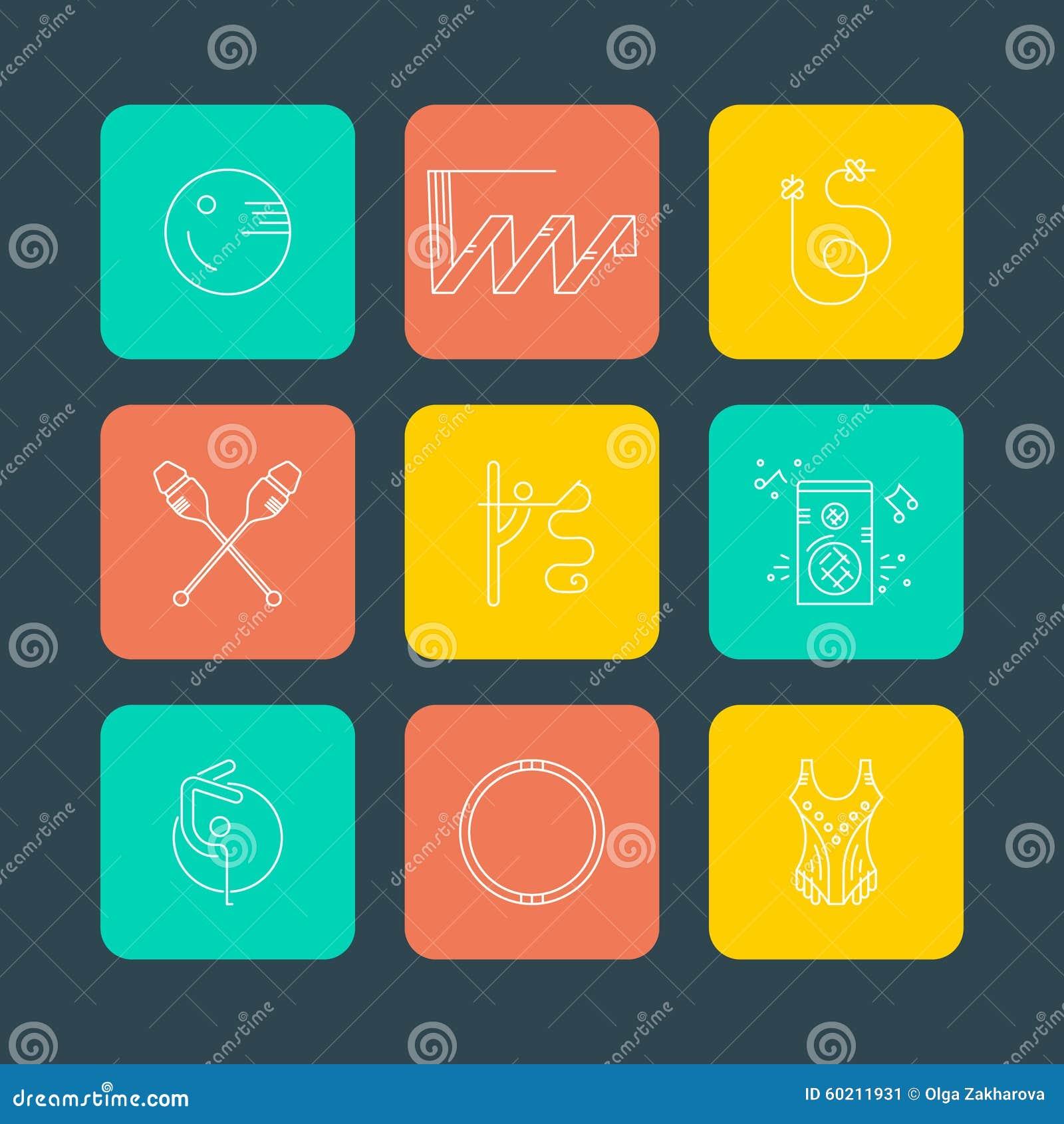 Rhythmic Gymnastics Icons Stock Illustration Illustration Of