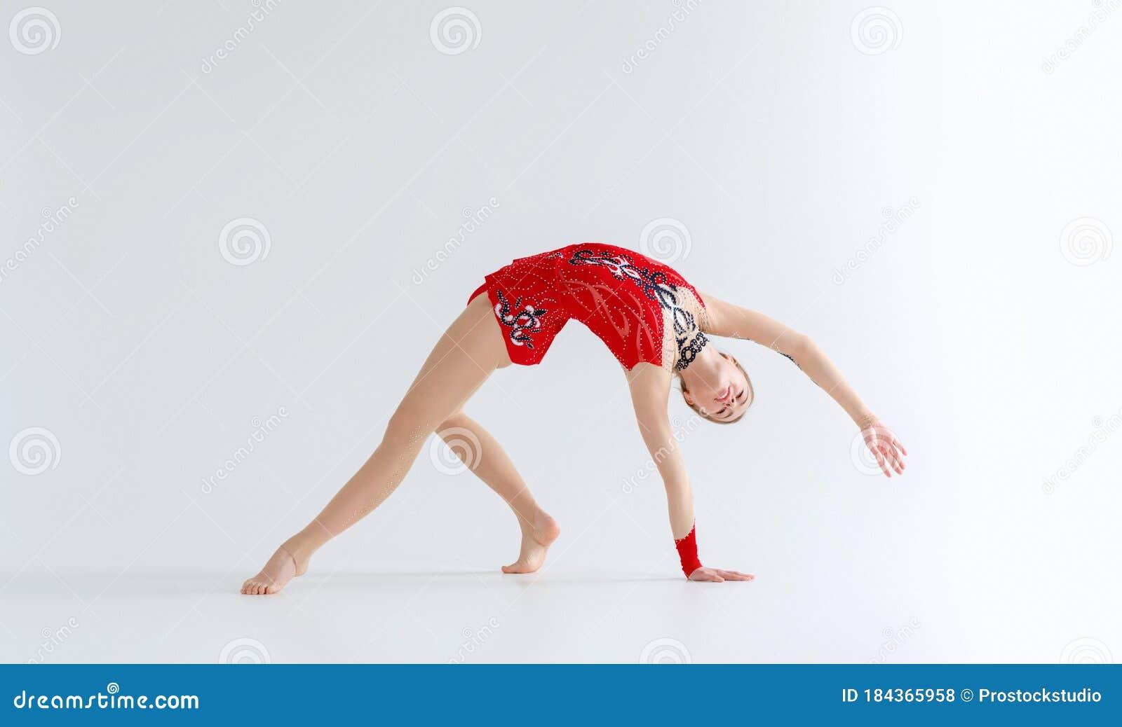Girls gymnasts warm up. stock photo. Image of lifestyle