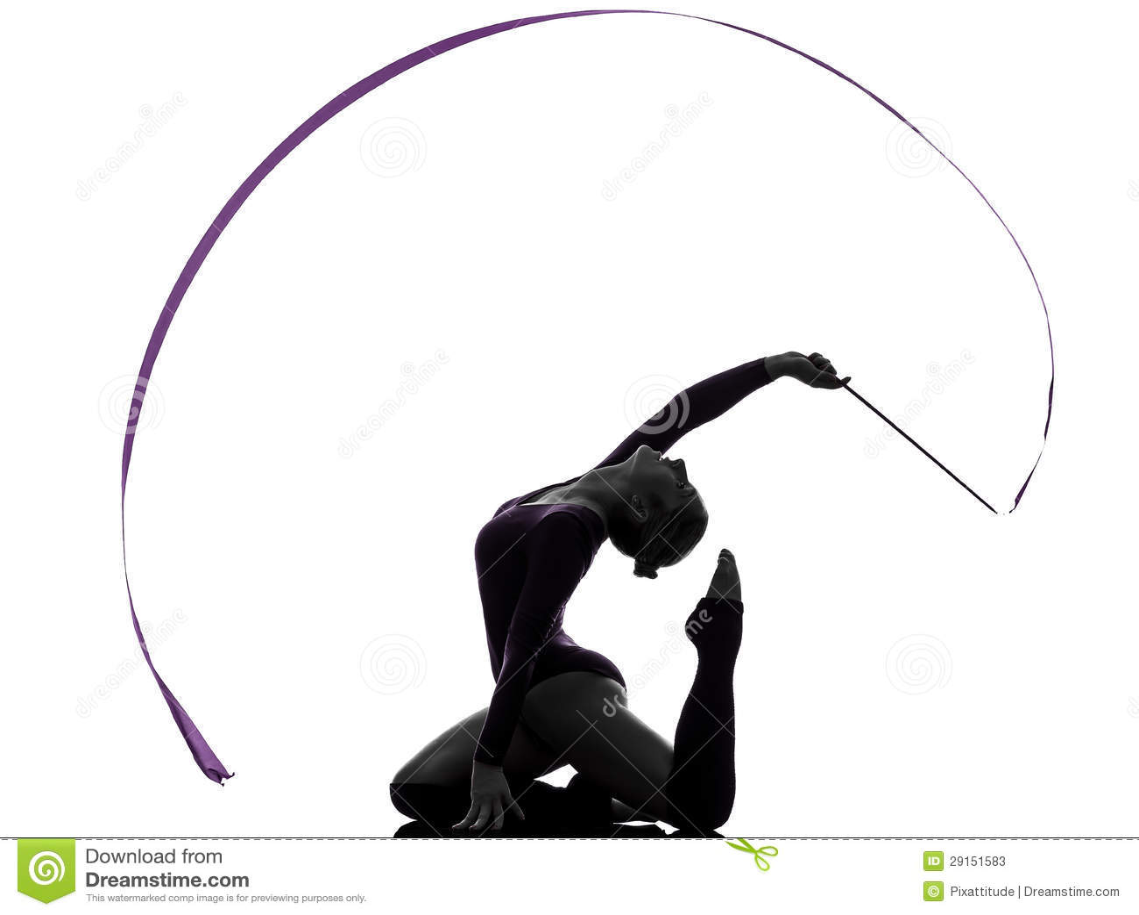 One caucasian woman exercising rhythmic gymnastics with ribbon in - Rhythmic Gymnastics With Ribbon Woman Silhouette Stock