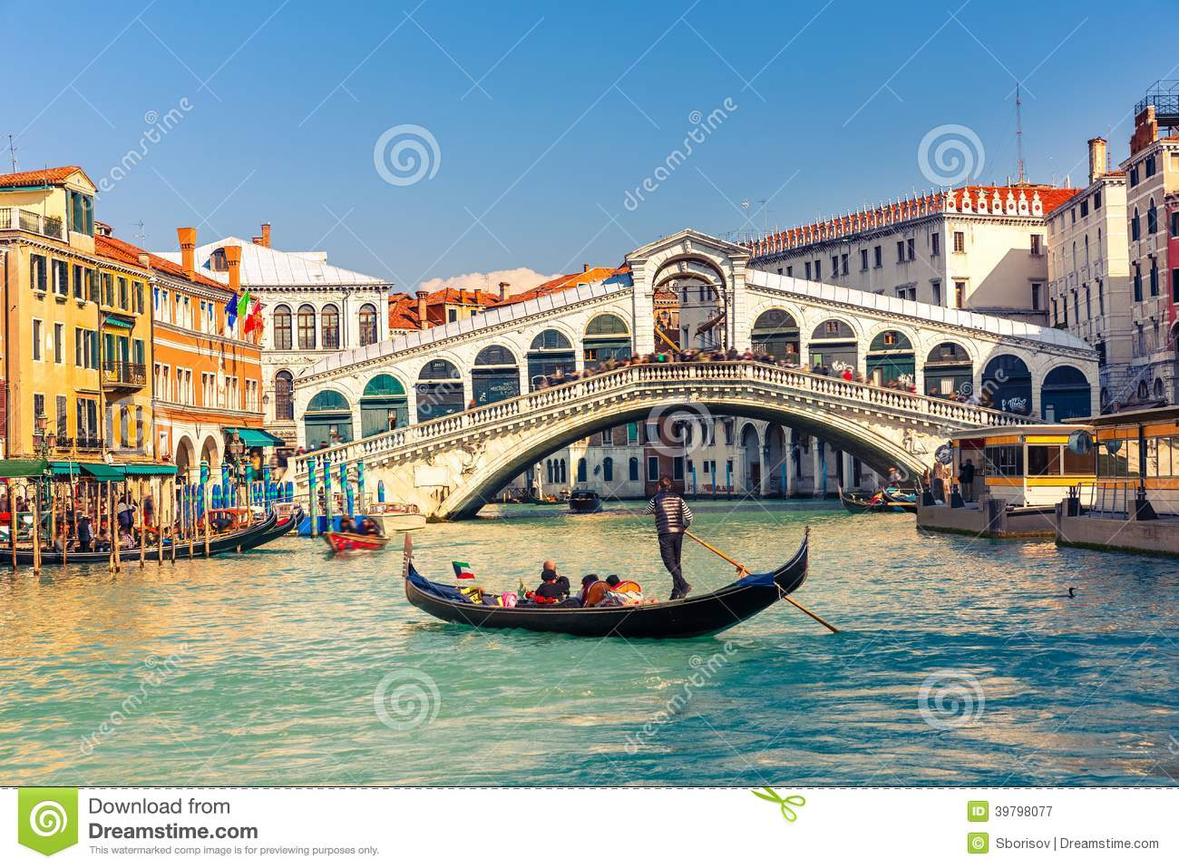 Download Rialto Bridge in Venice stock image. Image of street - 39798077