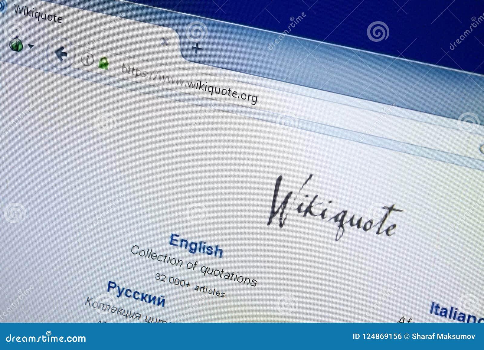 Riazan, Russie - 26 août 2018 : Page d accueil de site Web de citation de Wiki sur l affichage du PC URL - WikiQuote org