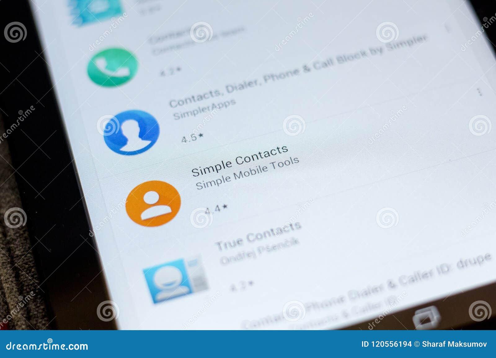 Riazan, Russie - 3 juillet 2018 : Icône simple de contacts dans la liste d apps mobiles