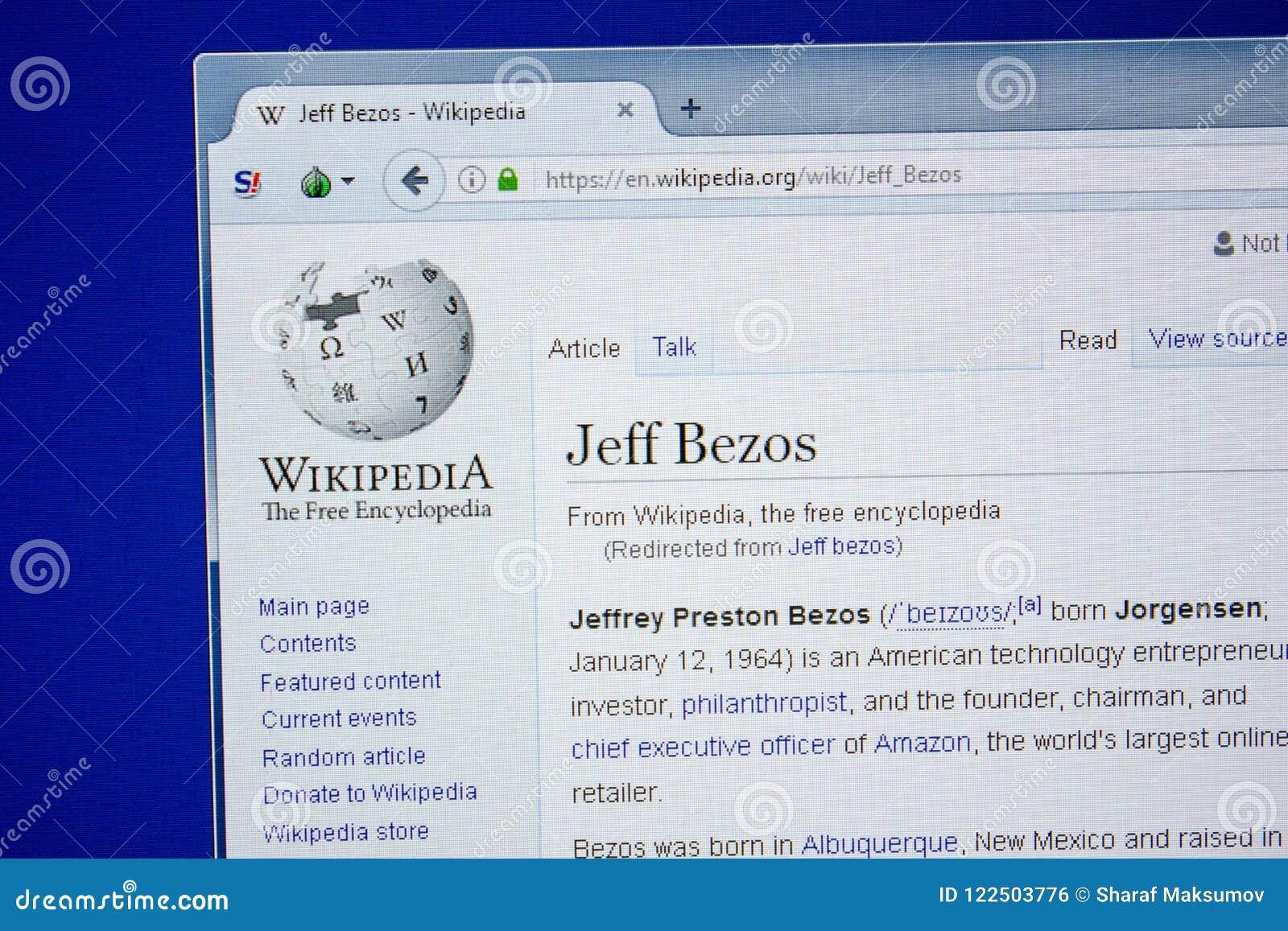 Riazan, Russie - 9 juillet 2018 : Page sur Wikipedia au sujet de Jeff Bezos sur l affichage du PC