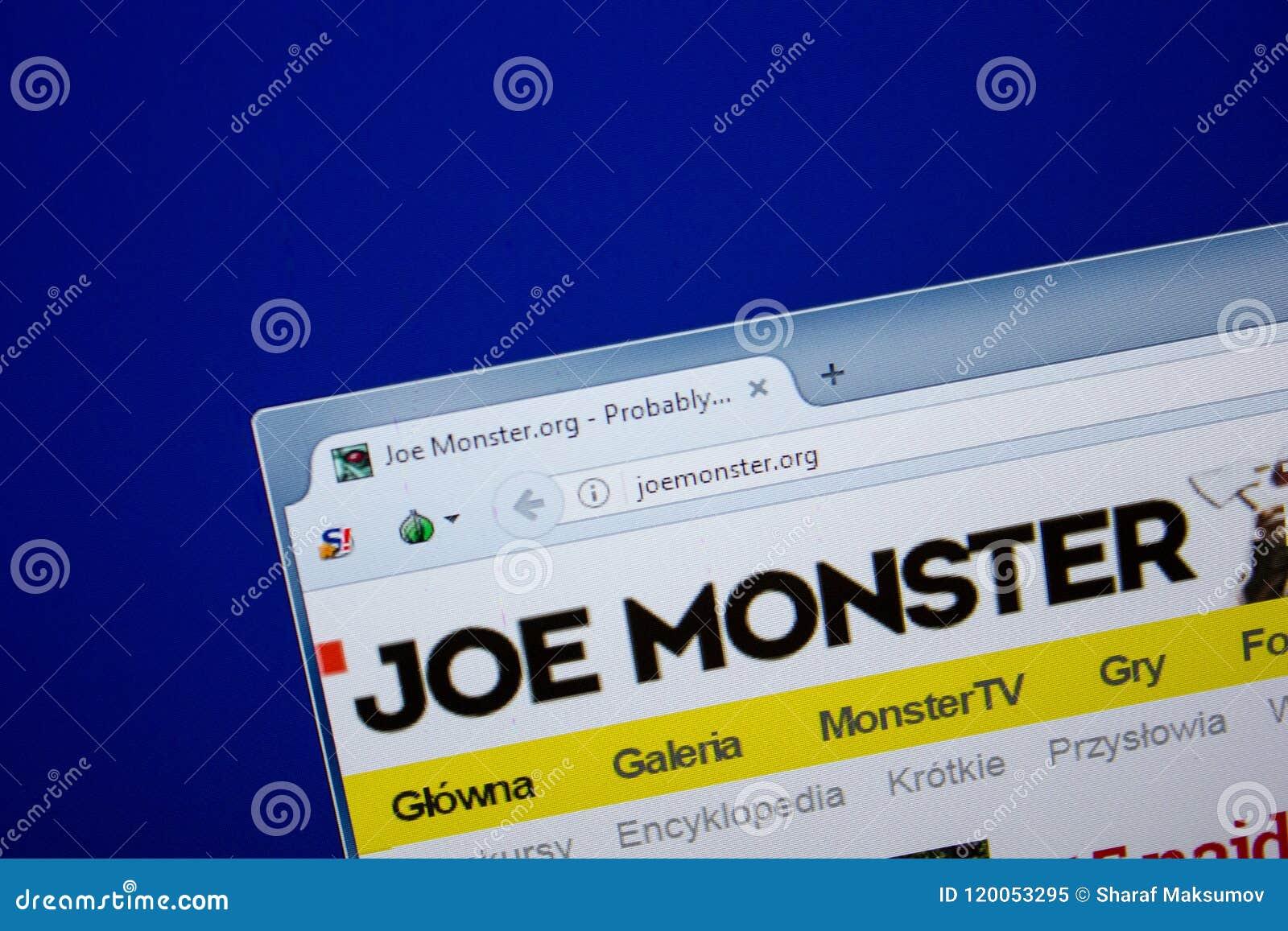 Riazan, Russie - 26 juin 2018 : Page d accueil de site Web de JoeMonster sur l affichage du PC URL - JoeMonster org