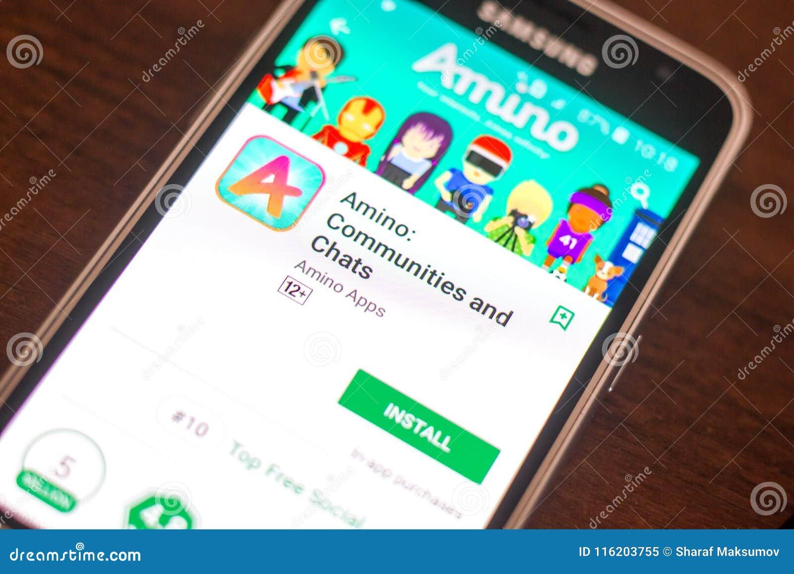 Riazan, Russie - 4 mai 2018 : Mobile aminé APP sur l affichage du téléphone portable