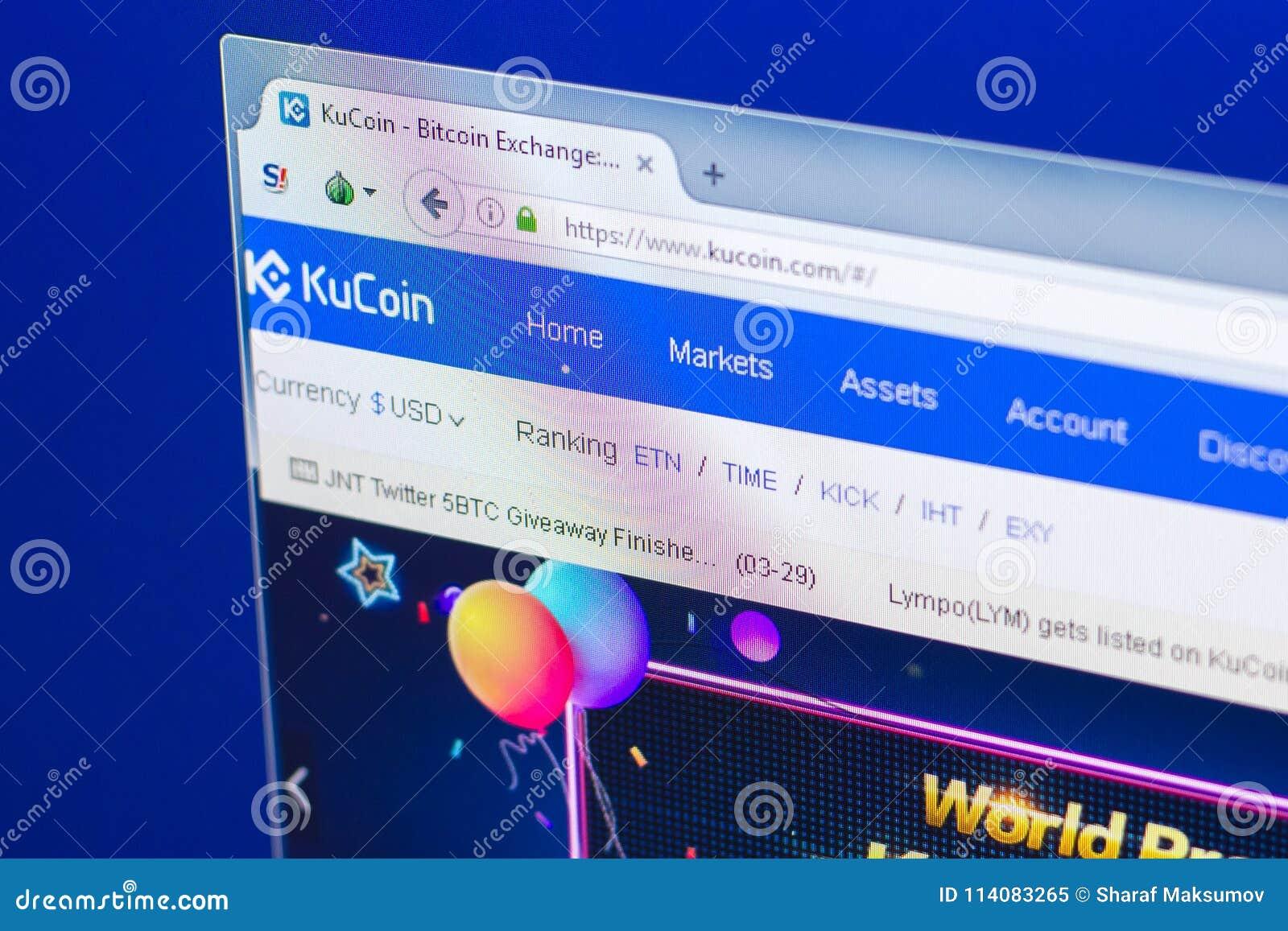 Riazan, Russie - 29 mars 2018 - page d accueil de crypto devise de KuCoin sur l affichage de PC, adresse de Web - WWW kucoin com