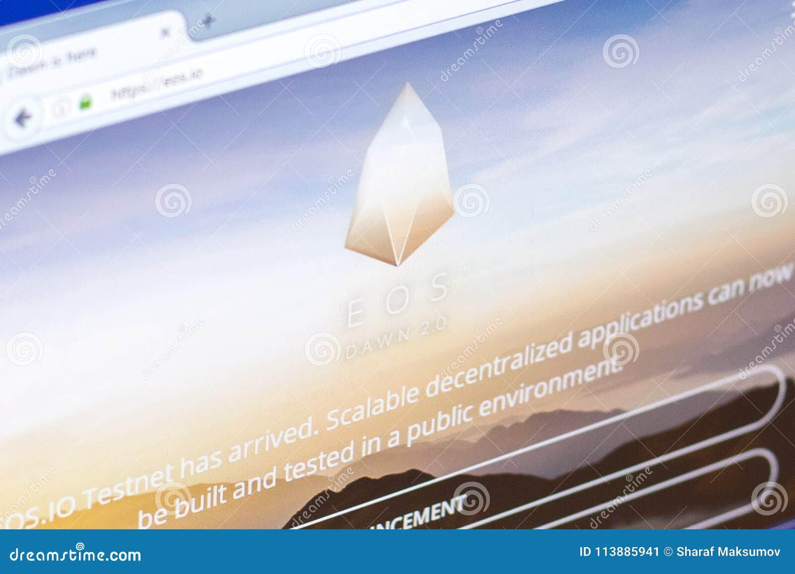 Riazan, Russie - 29 mars 2018 - page d accueil de cryptocurrency d EOS sur l affichage du PC, adresse de Web - EOS E/S