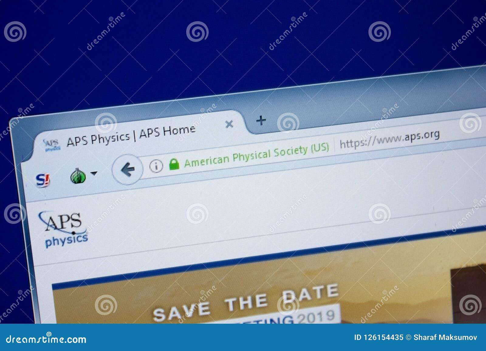 Riazan, Russie - 9 septembre 2018 : Page d accueil de site Web d aps sur l affichage du PC, URL - aps org