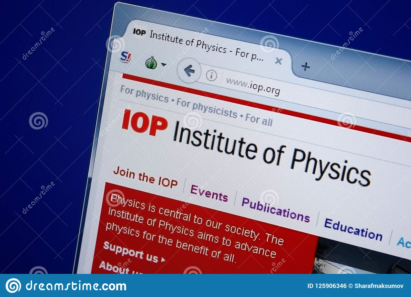 Riazan, Russie - 9 septembre 2018 : Page d accueil de site Web d IOP sur l affichage du PC, URL - IOP org