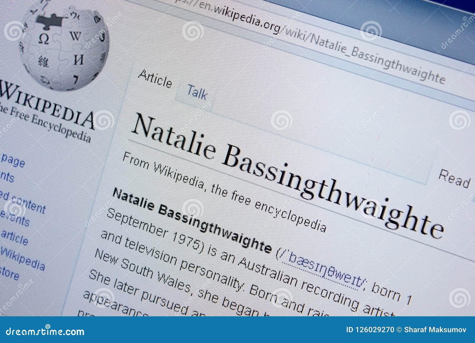 Riazan, Russie - 9 septembre 2018 - page de Wikipedia au sujet de Natalie Bassingthwaighte sur un affichage de PC