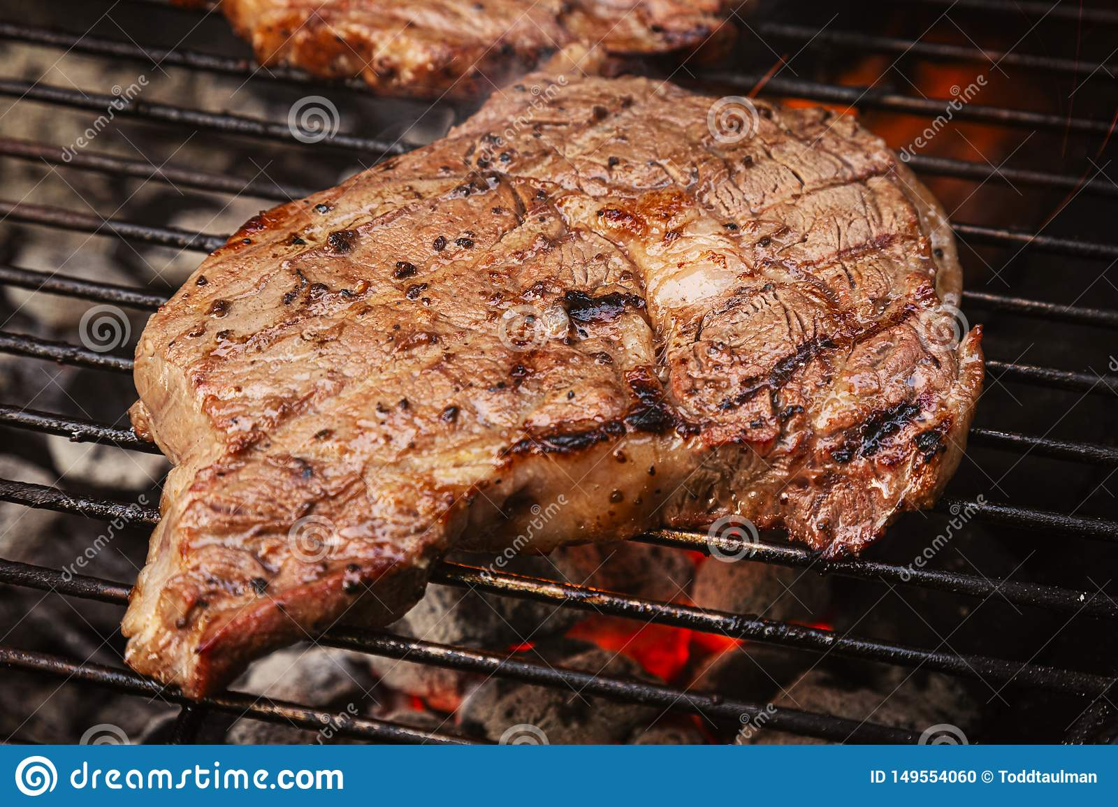 Rib Eye Steak On The Charcoal Grill Stock Photo Image Of Barbeque Fresh 149554060