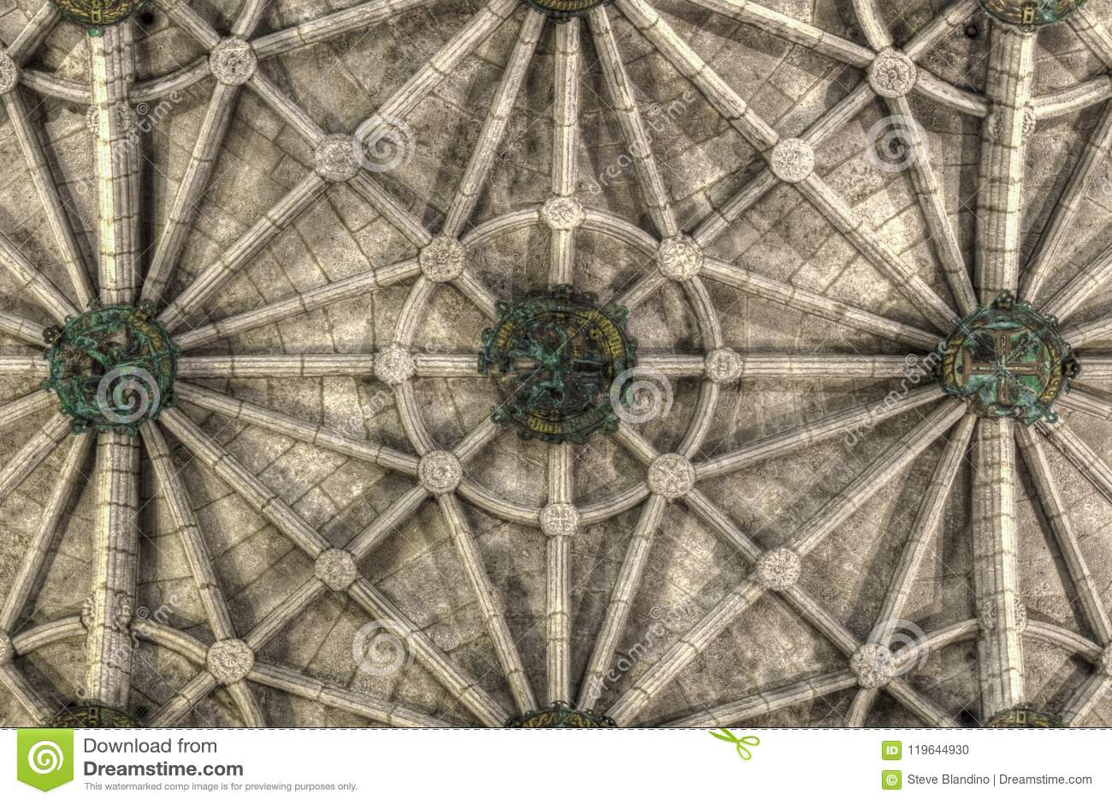 Ribbed ceiling of Jeronimos Monastery Church of Santa Maria in Lisbon