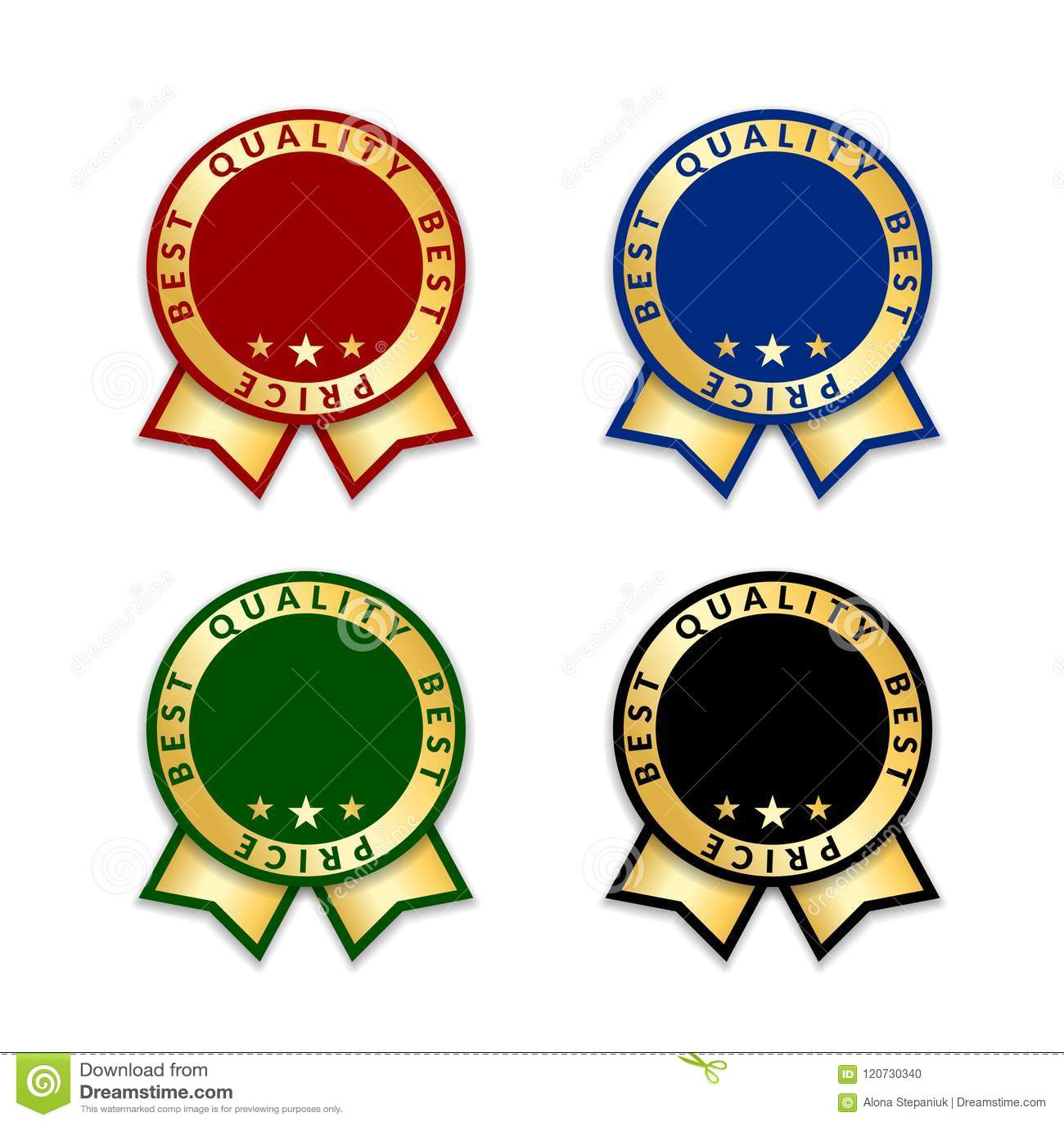 ribbon award best price labels set gold ribbon award icons isolated