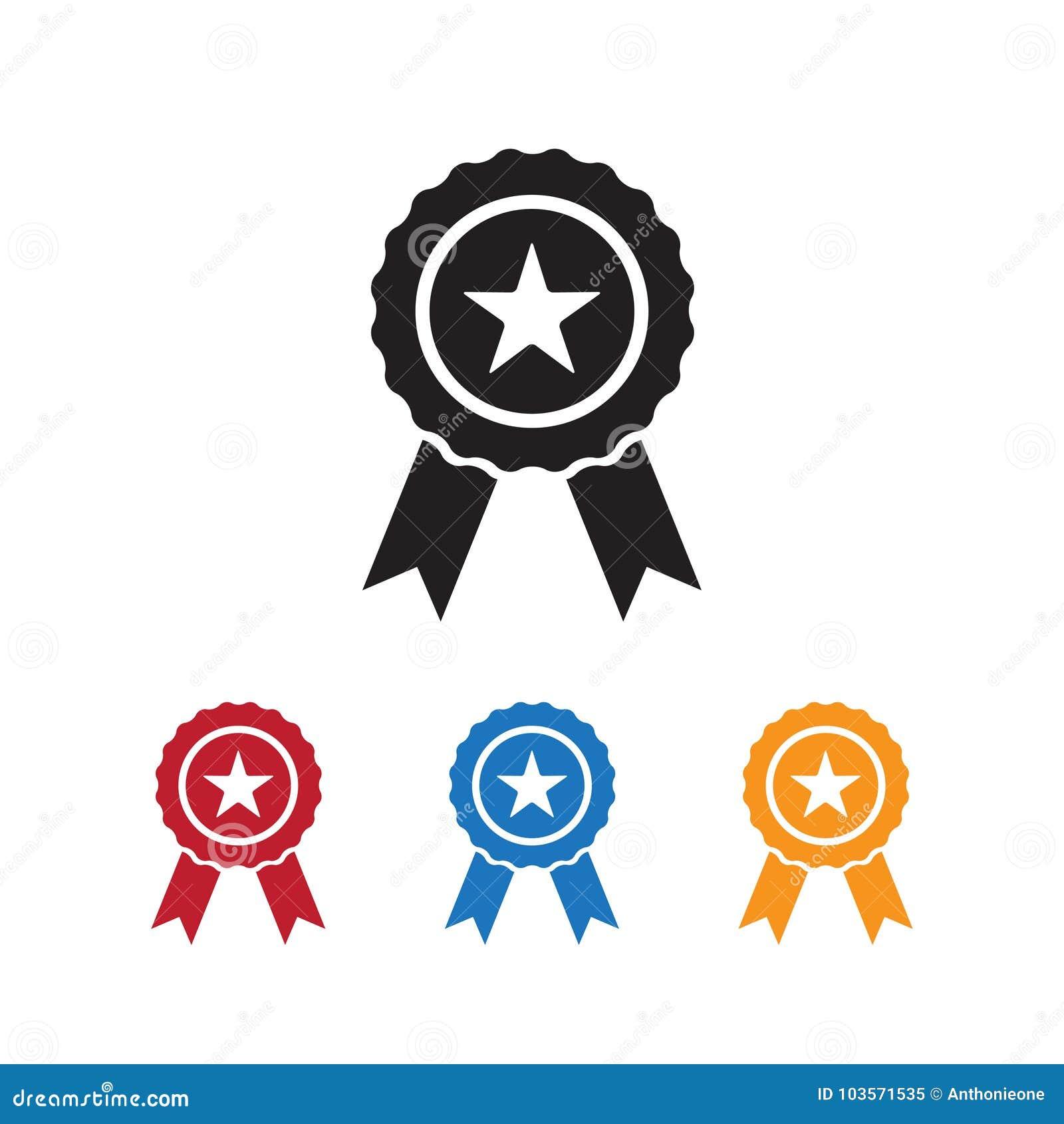 ribbon award icon with star illustration on white background stock