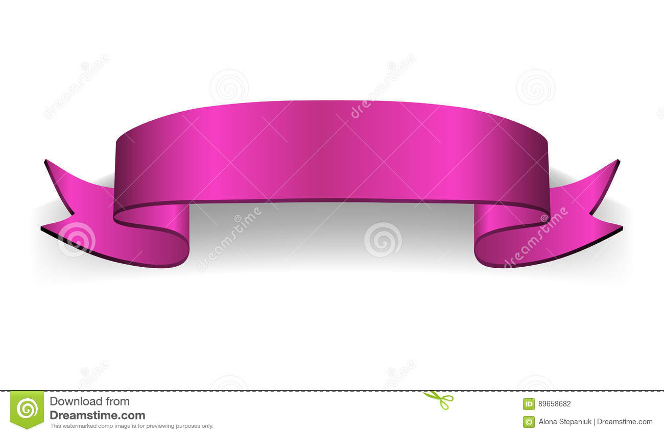 Ribbon banner Satin blank stock vector. Image of pink ...