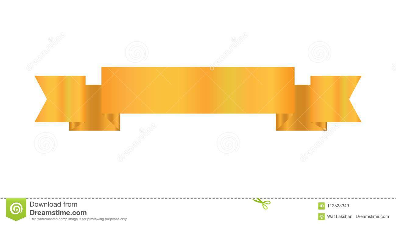 Ribbon Design Gold Color Icon Web Banner Print Ready