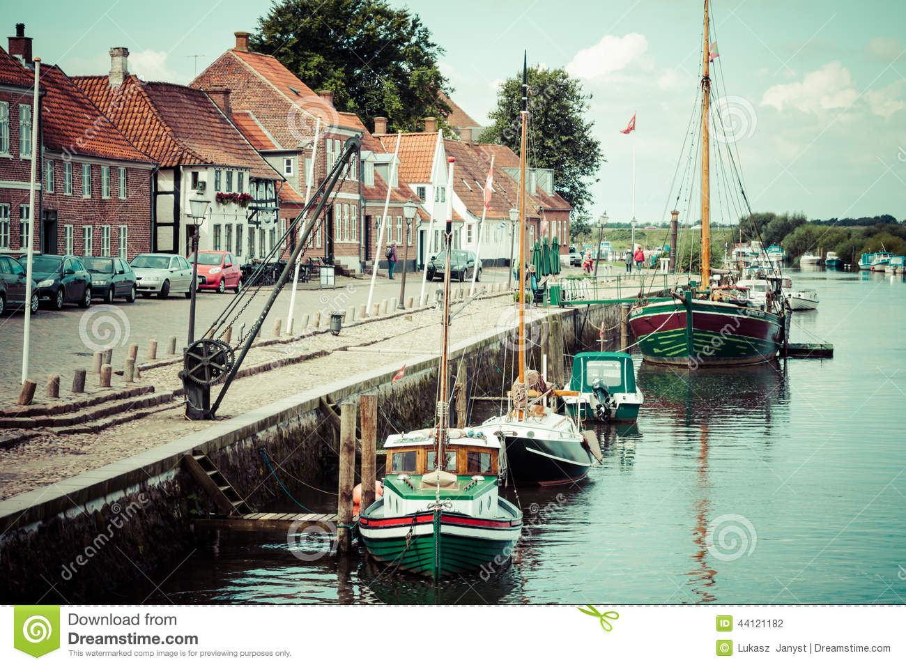 Ribe harbour Skibbroen. Old town and Ribe river,May 3, 2013