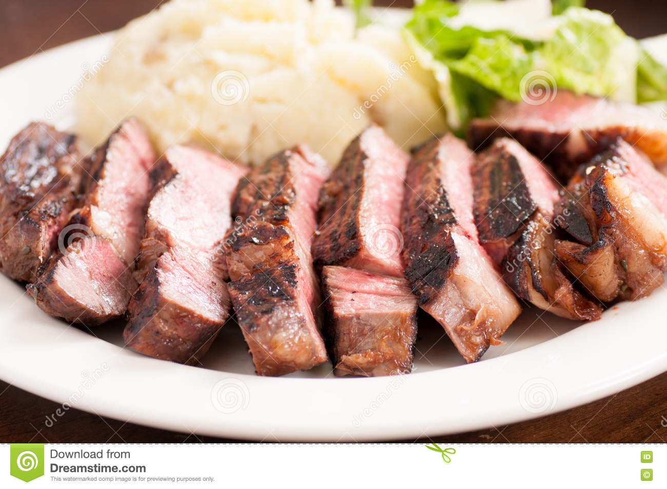 Download Ribeye Steak Dinner With Mashed And Caesar Stock Image