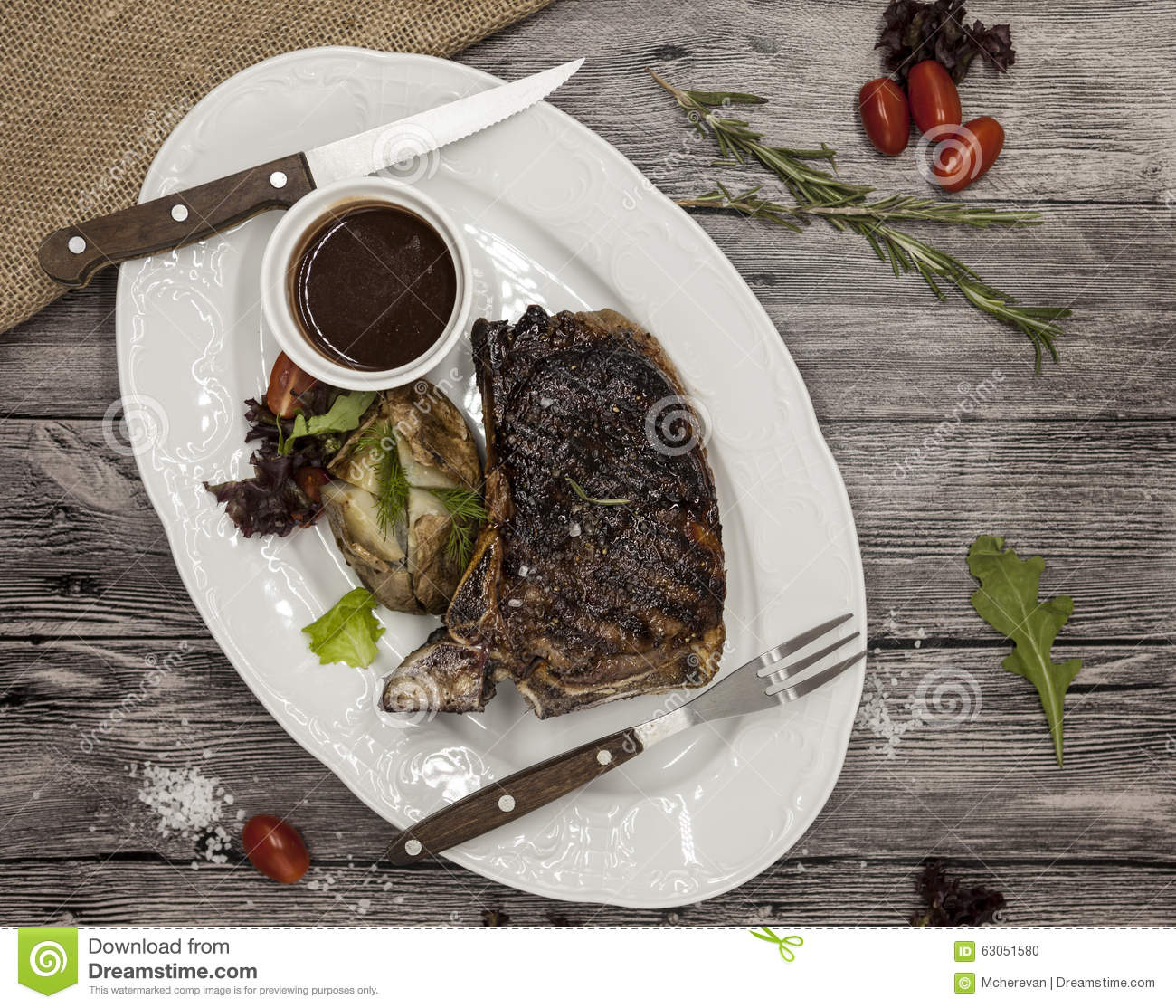 Ribeye Steak From Marble Beef Meat With Vegetables And