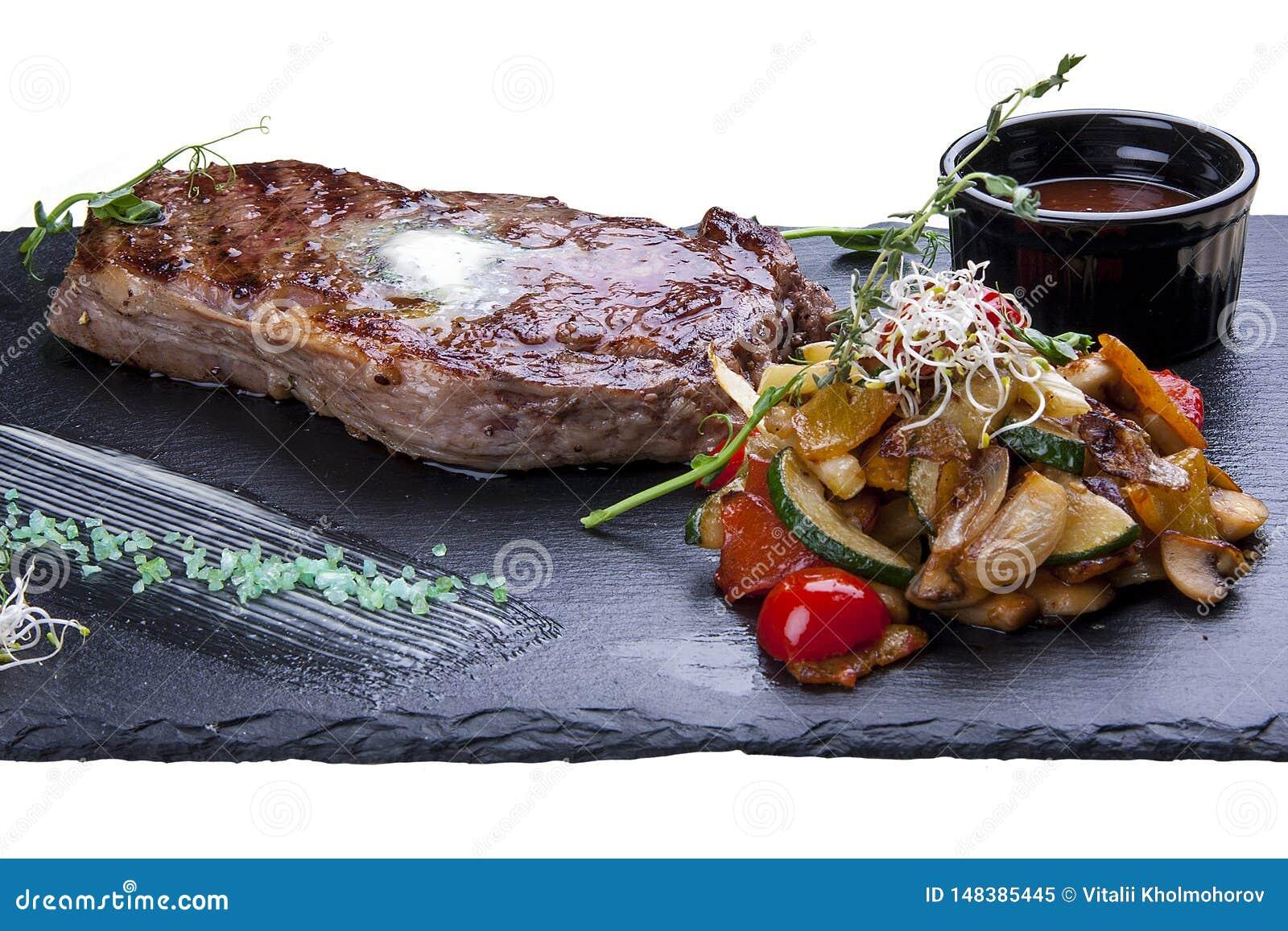 Ribeyelapje vlees met groenten