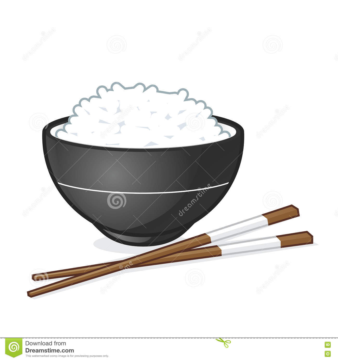 Vector cartoon clipart picture of a rice bowl.