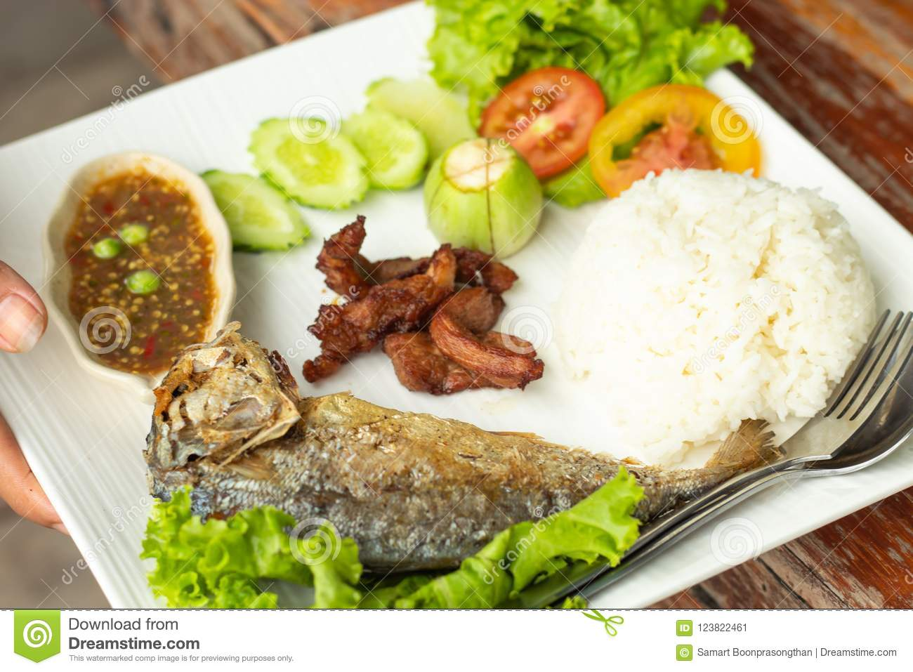 Rice, chili sauce, fish and pork fried with vegetables on a whit