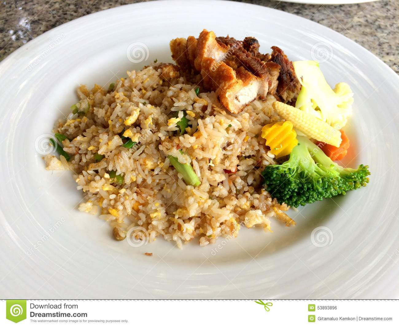 rice with fried chicken fish sauce stock photo image