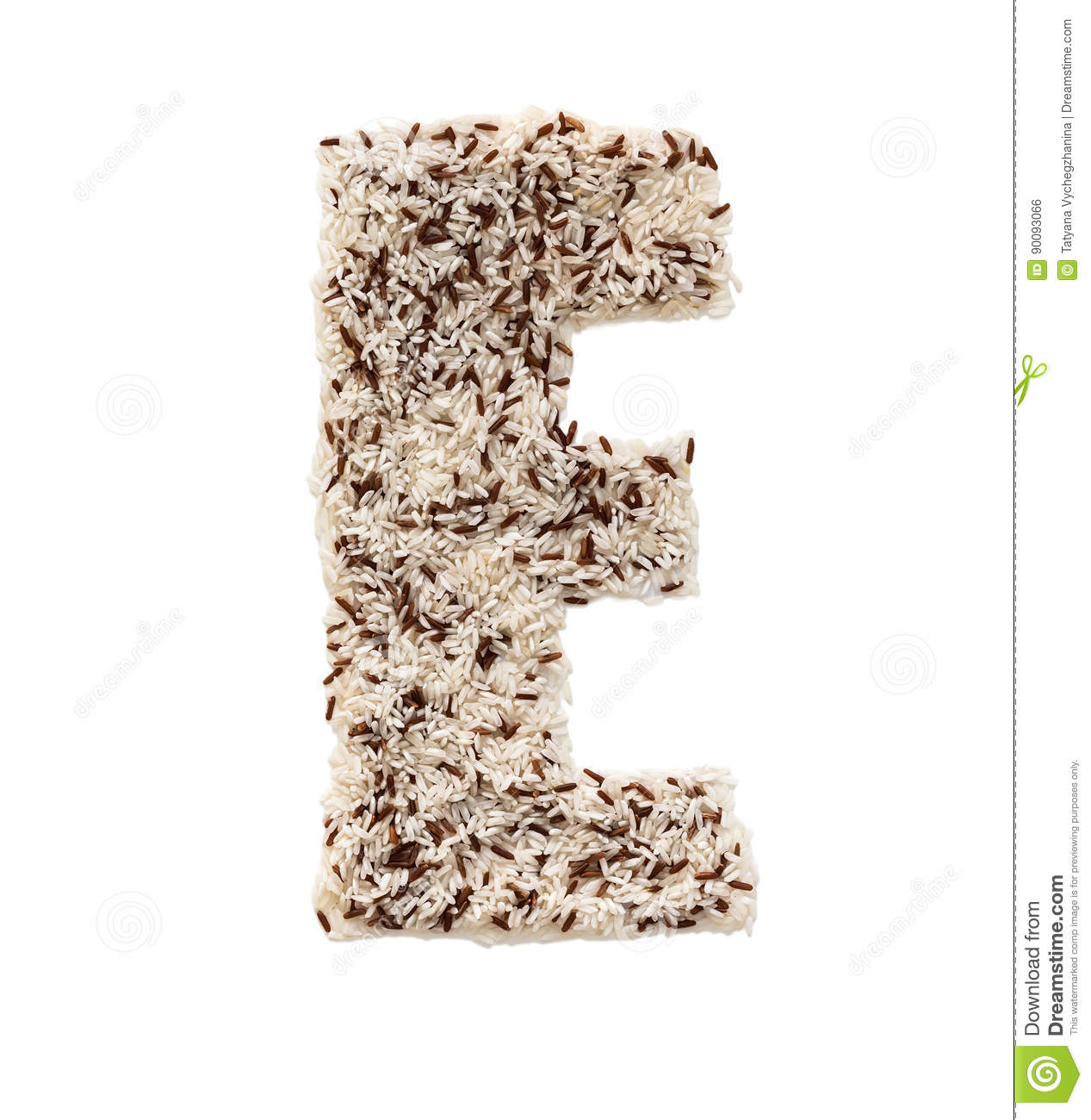 different kinds of rice grain lying and creating an alphabet letter e different colors