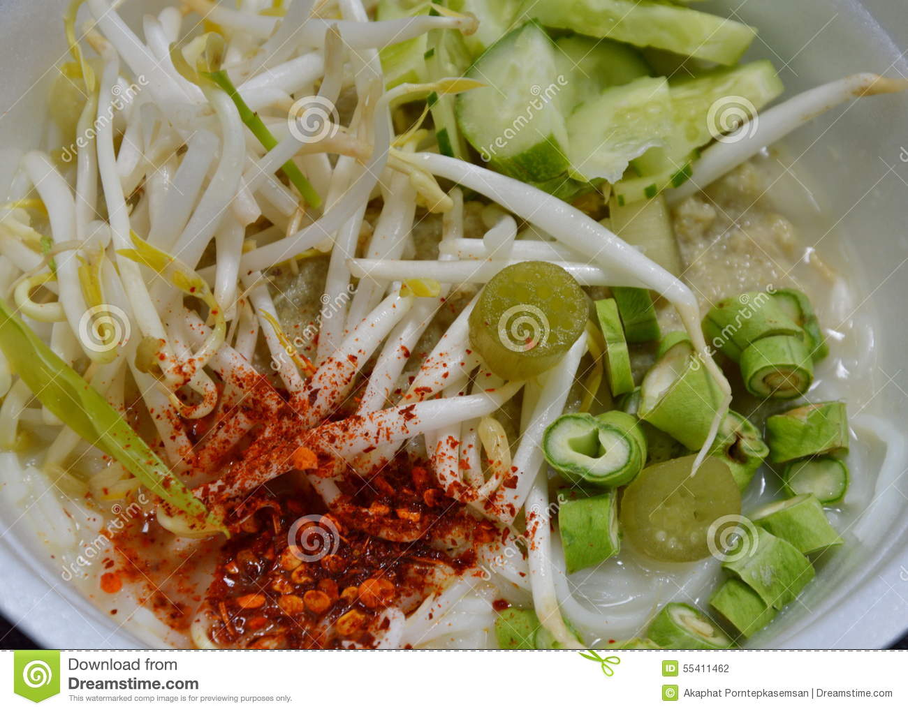 Rice noodle with fish curry sauce cambodian style stock for Rice noodle fish