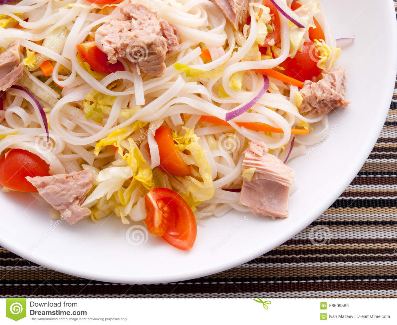 Rice noodle salad with tuna fish stock photo image 58509589 for Rice noodle fish