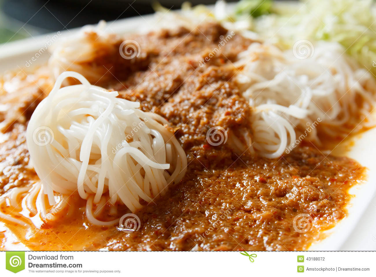 Rice noodles in fish curry sauce stock photo image of for Rice noodle fish