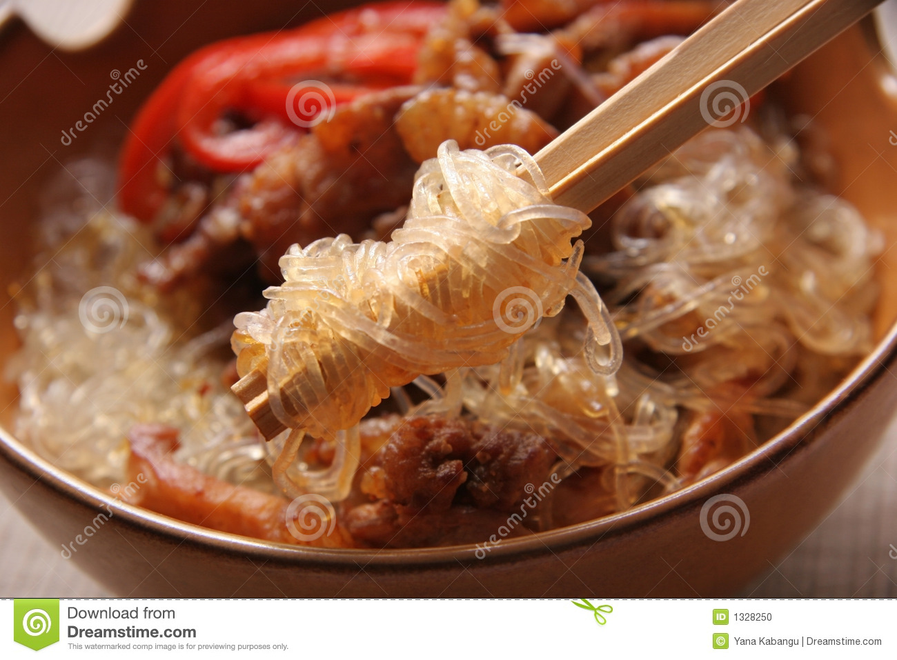 Rice Noodles With Pork. Stock Photo - Image: 1328250