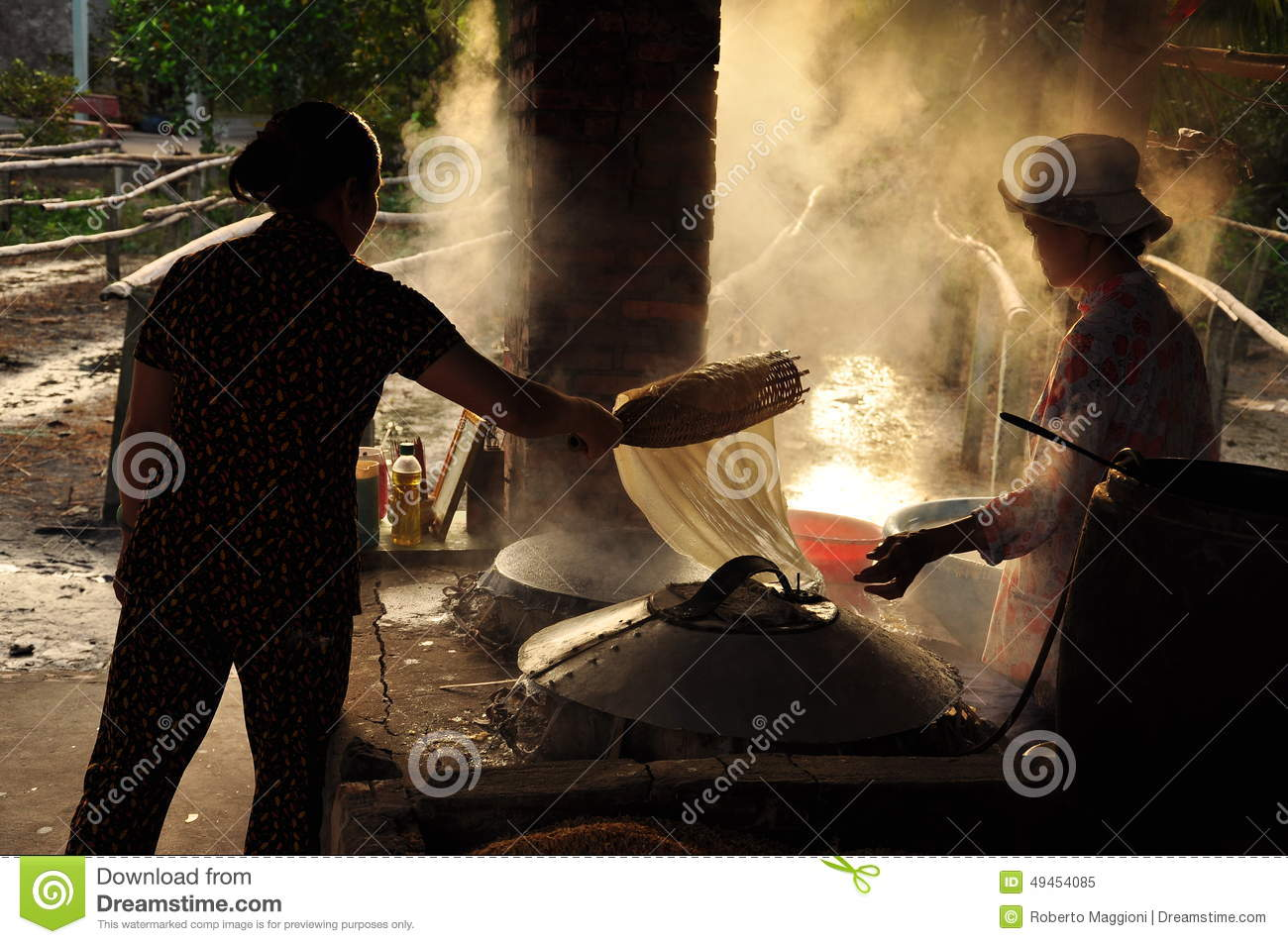 Women Cooking Rice Paste To Make Rice Noodles, Vietnam Editorial Image  Women Cooking Rice Paste