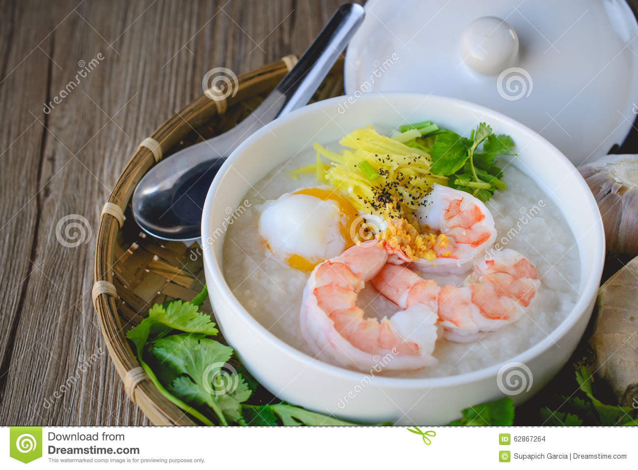Rice porridge with shrimp and egg vintage tone thai food for Antique thai cuisine
