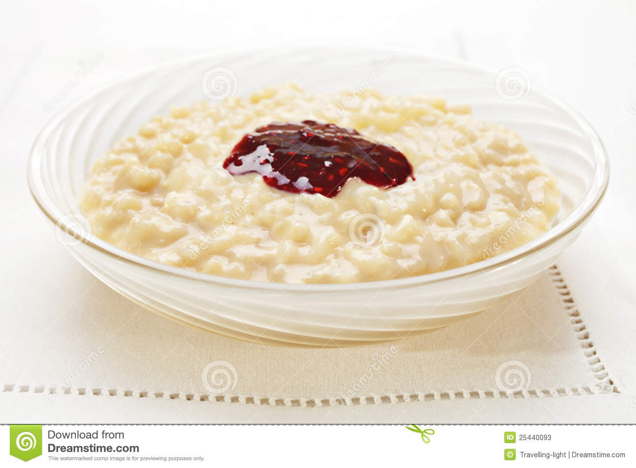 Rice Pudding with Jam stock image. Image of rice, pudding ...