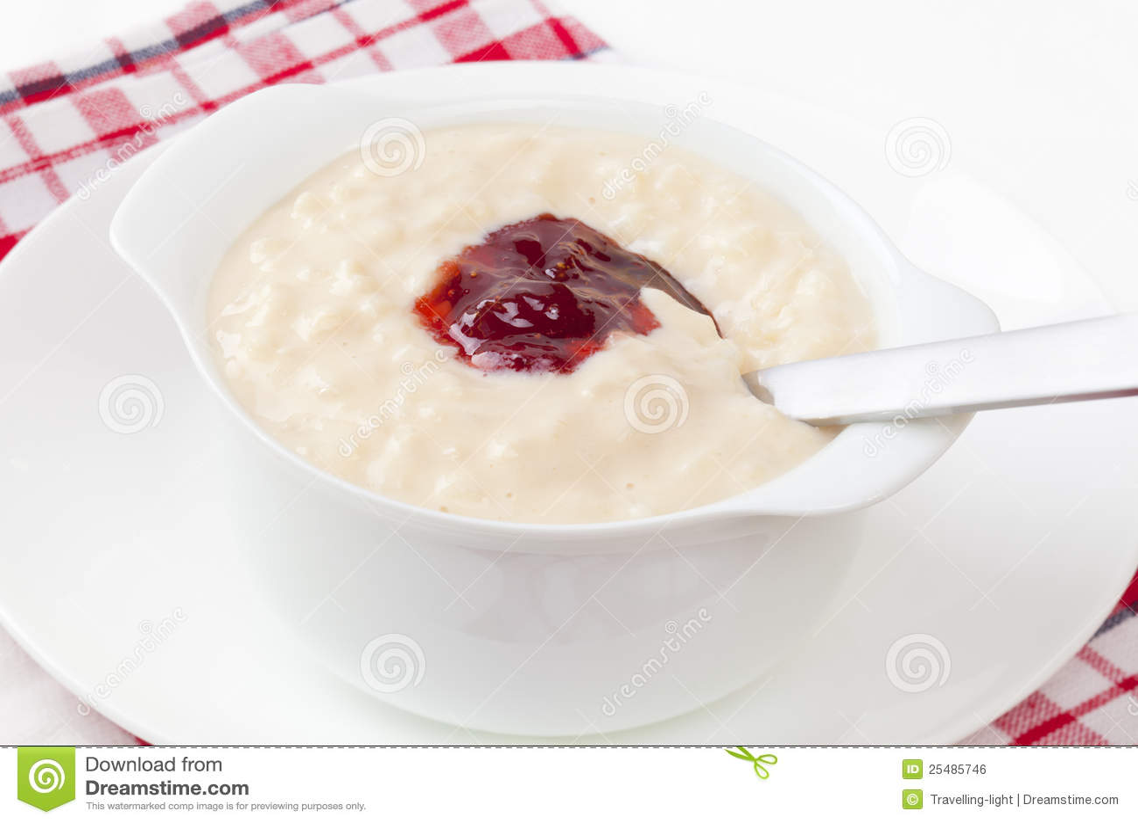 Rice Pudding With Strawberry Jam Stock Photo - Image of ...