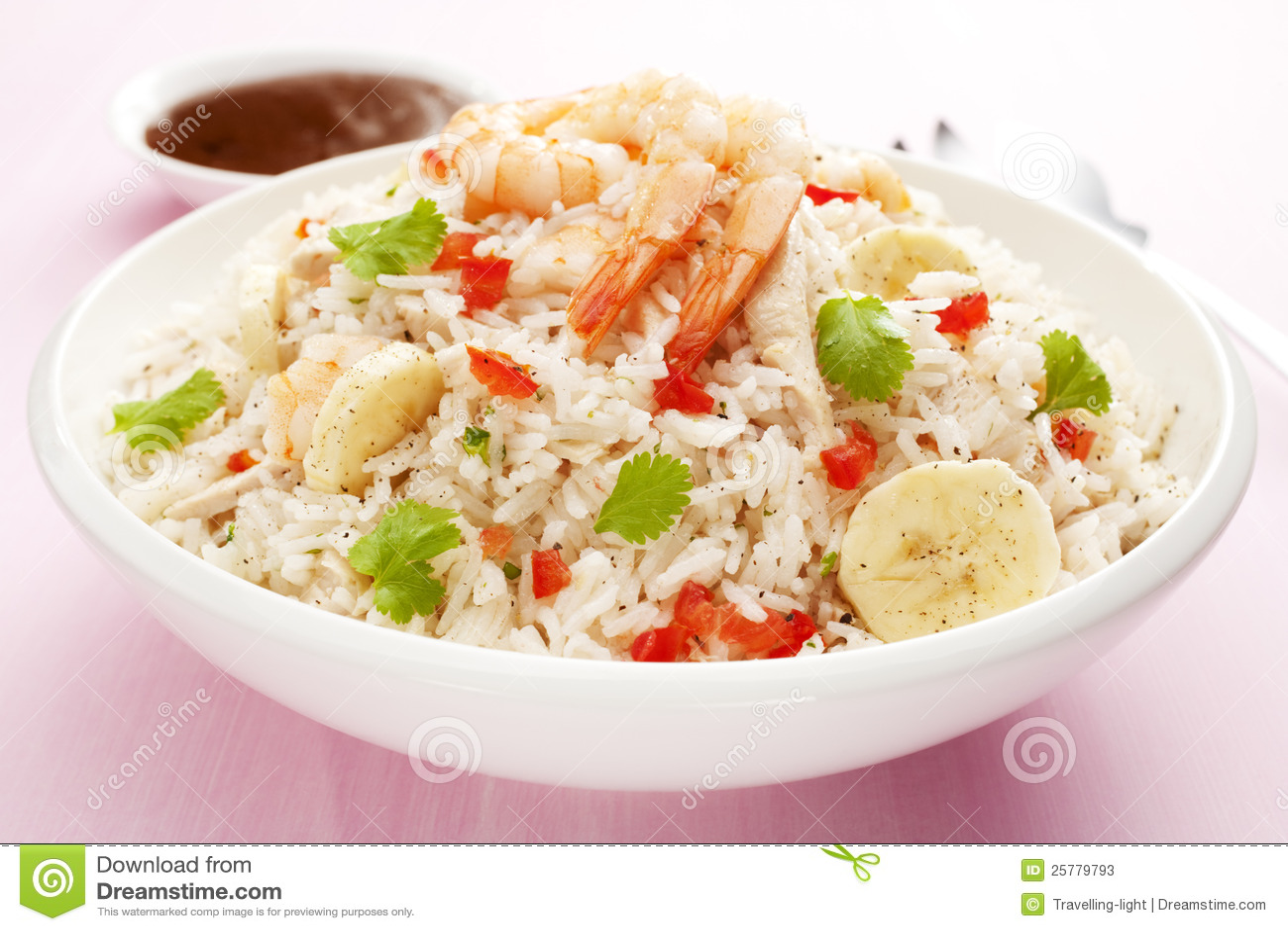 Rice Salad with Prawn or Shrimp and Banana