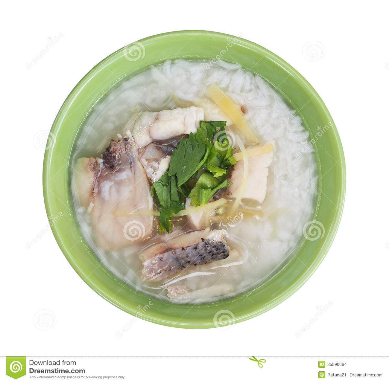 Rice Soup With Sea Bass Fish Stock Photo Image Of Isolated White 35590064