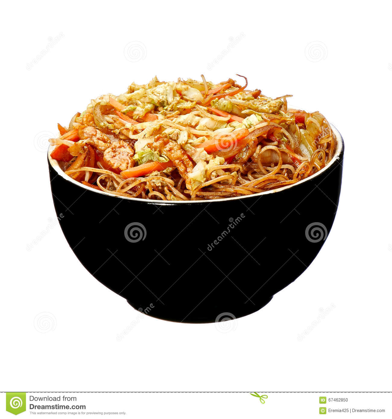 Rice Spaghetti With Chicken Meat Stock Photo Image Of