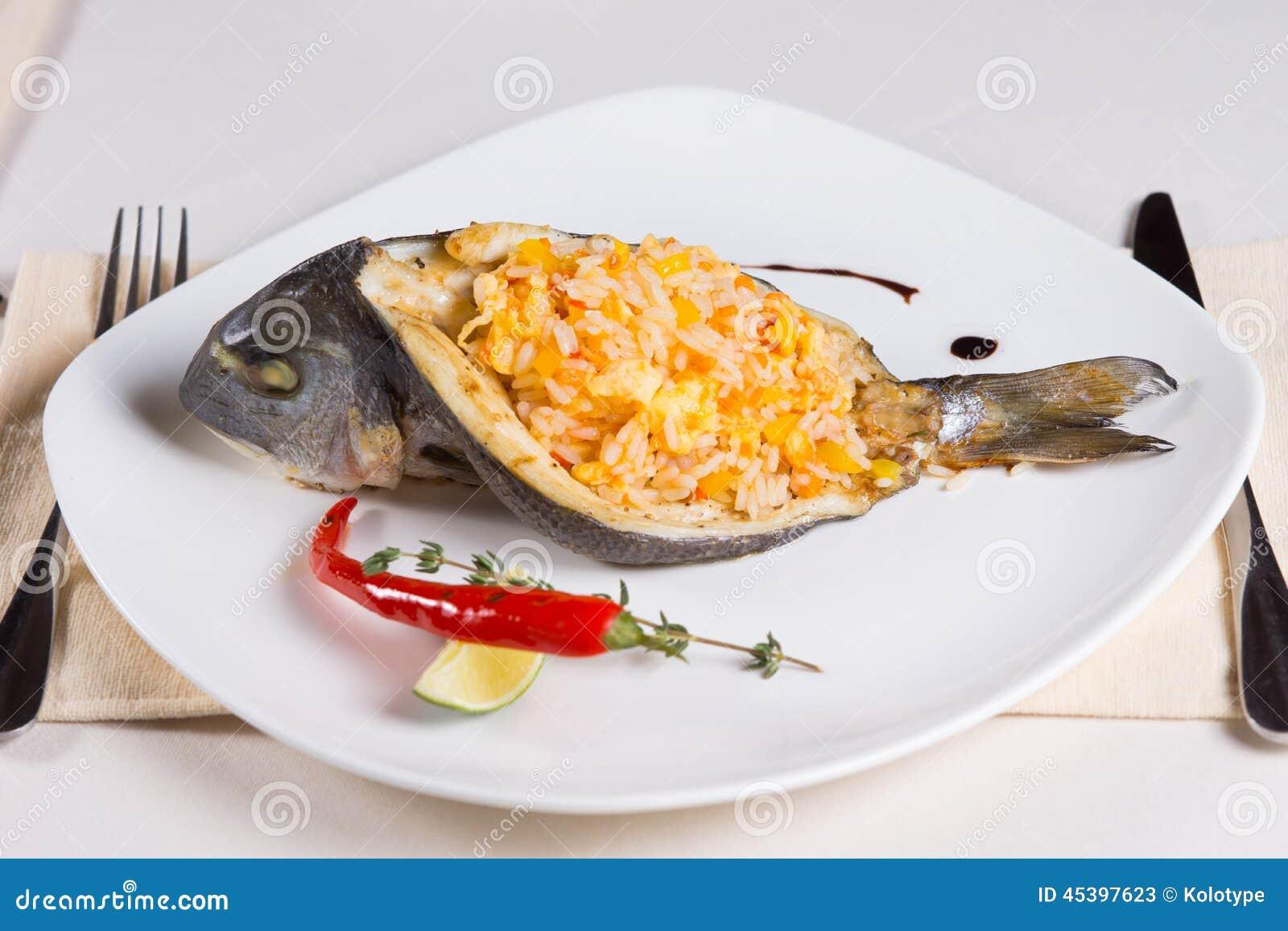 Rice Stuffed Fish Dish On Plate Stock Photo Image 45397623