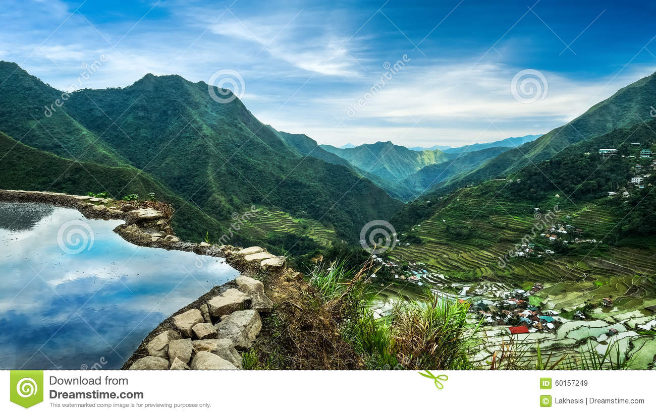 Rice terraces fields in Ifugao province mountains Banaue, Philippines
