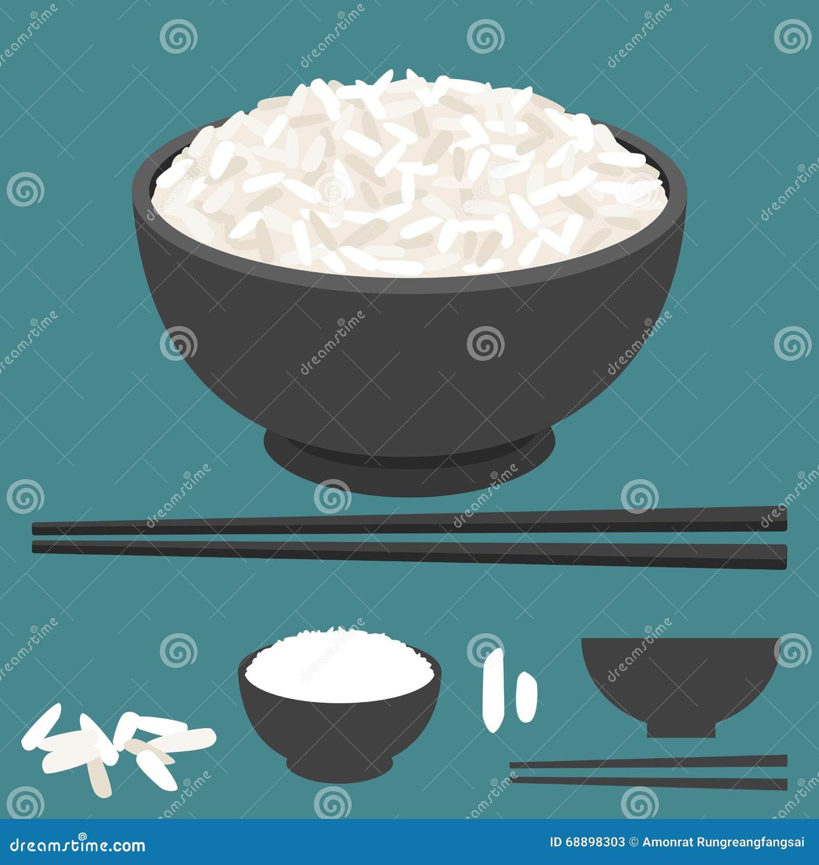 Rice w pucharze i chopsticks wektorowych