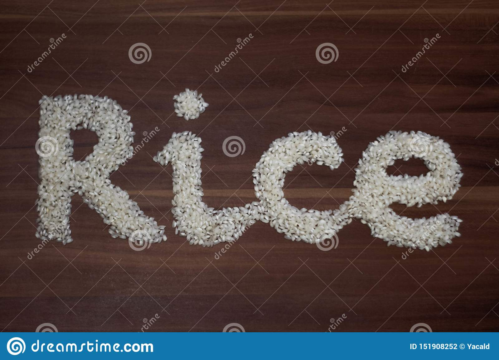 `Rice` written with rice