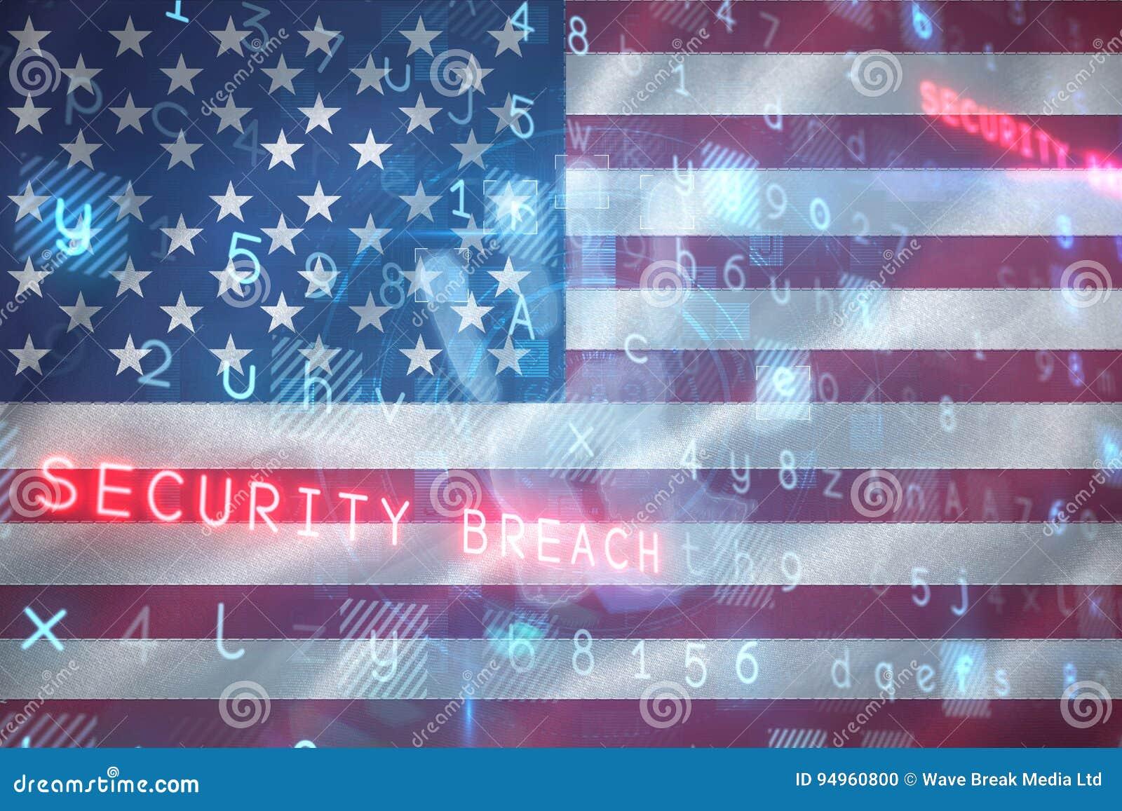 Ricerca della mano di sicurezza di Digital contro la bandiera nazionale americana digitalmente generata 3D