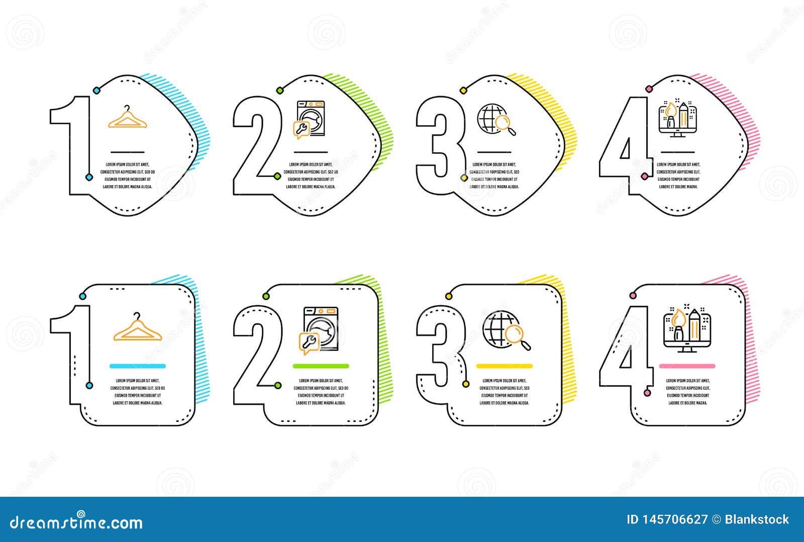 Ricerca di web, insieme delle icone del guardaroba e della lavatrice Segno creativo di progettazione Vettore